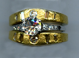 24kt. Guard Bands using Diamonds from Old Ring to embrace Antique Engagement Ring