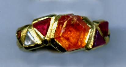 Natural Crystals of: Spessartine Spinel Diamond  24kt. Gold