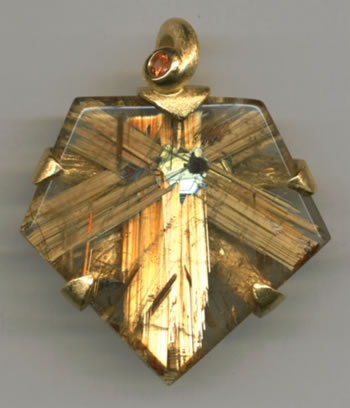 Rutilated Quartz and Orange Sapphire with 24kt. Gold
