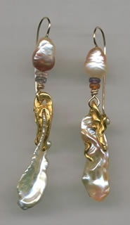 Chinese Freshwater Pearls  Tourmaline  24kt. Gold