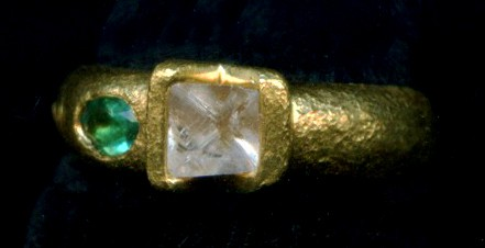 Emerald Natural Diamond Crystal 24kt. Gold