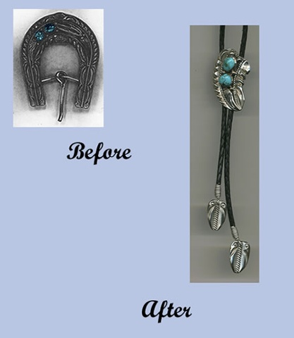 Bolo Tie made from Fathers Belt Buckle