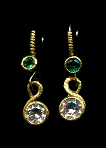 Diamond Paraiba Tourmaline 24kt. Gold