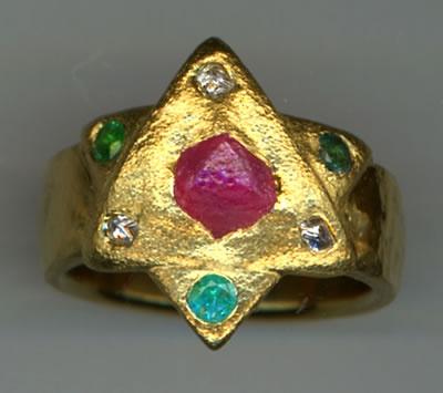 Natural Ruby Crystal, Natural Diamond Crystals and Paraiba Tourmaline with 24kt. Gold