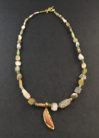 Antique Bactrian Agates Antique Egyptian Clay Burial Beads Afghani Jade Jasper 24kt. Gold 22kt. Gold 18kt. Gold