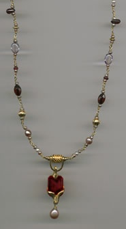 Ruby, Pearl, Garnet and Amethyst with 24kt. Gold
