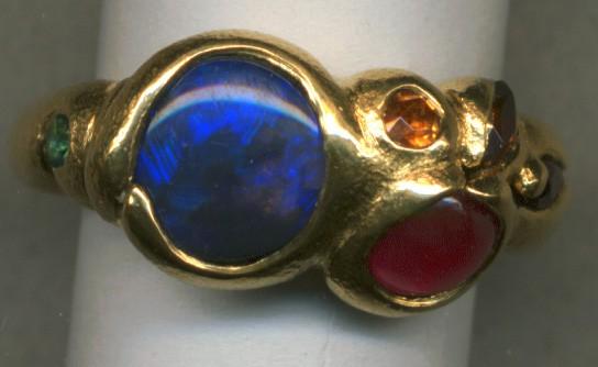 Australian Opal Ruby Paraiba Tourmaline Spessartine Garnet 24kt. Gold