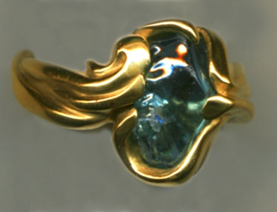 Baroque Blue Zircon with 24kt. Gold