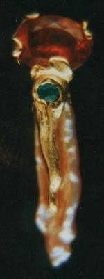 Spessartine Garnet, Paraiba Tourmaline and Chinese Freshwater Pearl with 24kt. Gold