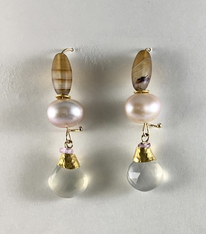 Moonstone Chinese Freshwater Pearl Banded Agate Tourmaline 24kt. Gold 14kt. Gold