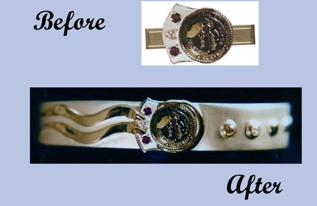 Sterling Silver Bracelet Made from Uncle's Tie Clip with Diamonds and 18kt. Gold Added