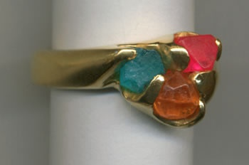 Natural Crystals of Paraiba Tourmaline, Spessartine Garnet and Spinel with 24kt. Gold