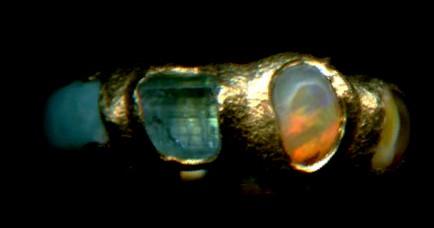 Turquoise Tourmaline Opal Amber 24kt. Gold