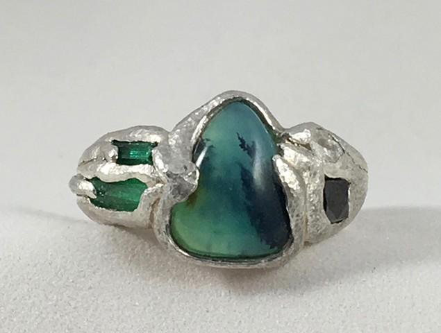 Peruvian Opal Natural Emerald Crystals White and Black Diamond Fine Silver