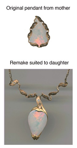 Australian Opal, Diamonds and 14kt. Gold Rearranged for Contemporary Look