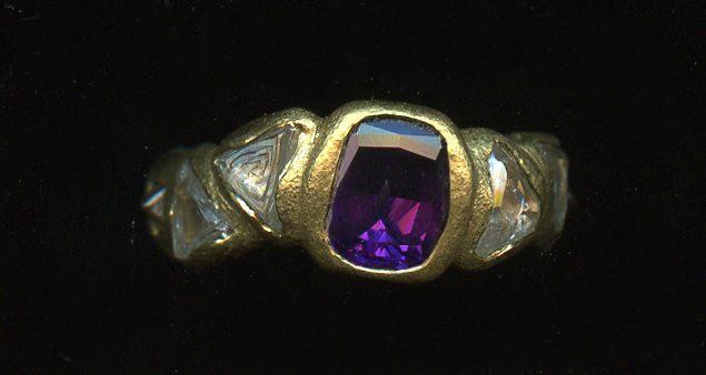 Garnet Natural Diamond Crystals 24kt. Gold