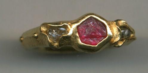 Ruby Crystal Diamond Crystal 24kt. Gold