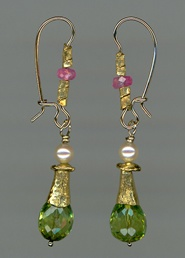 Peridot Mysore Ruby  Freshwater Pearls 24kt. Gold