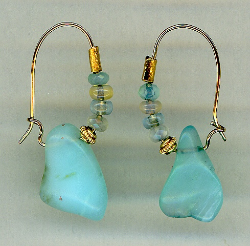 Peruvian Opal, Australian Opal, Aquamarine and 24kt. Gold