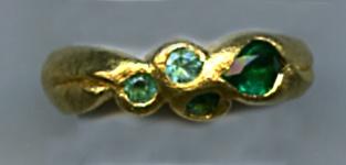 Emerald, Paraiba Tourmaline and 24kt. Gold