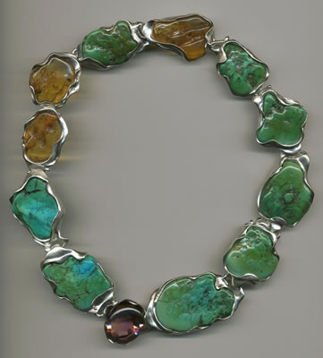 Turquoise, Amber and Amethyst with Sterling Silver