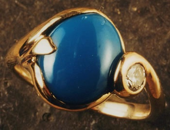 Turquoise and Diamond with 18kt. Gold