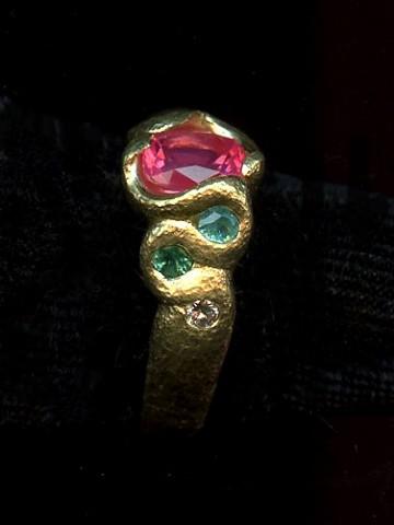 Spinel Paraiba Tourmaline Diamond 24kt. Gold