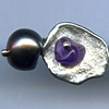 Amethyst, Sterling Silver, and Pearl Cuff Links