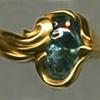 Baroque Blue Zircon  24kt. Gold