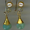 Peruvian and Australian Opal  Chinese Freshwater Pearls 24kt. Gold