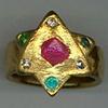 Natural Ruby Crystal Natural Diamond Crystals  Paraiba Tourmaline  24kt. Gold
