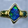 Opal Emerald Tourmaline 24kt. Gold