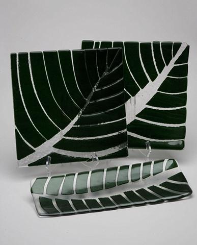 aventurine green, leaf dishes, leaf trays
