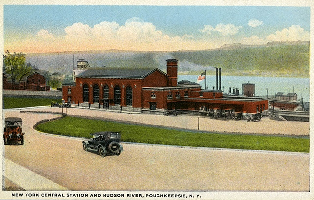 Historical postcard of the Poughkeepsie Train Station.