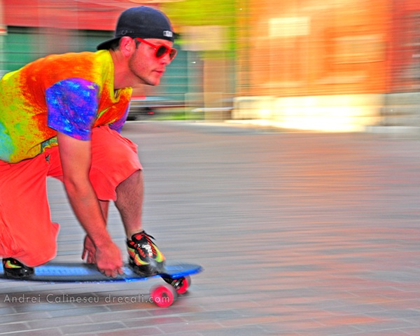 Ryan Rubin of Longboard Living cruising in the Distillery District in Toronto, Canada with ease and style on a custom Longboard Living Board
