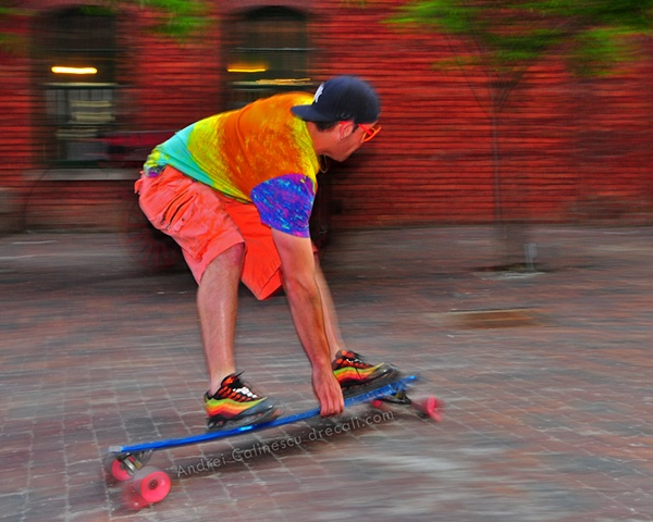Ryan Rubin of Longboard Living carving in the Distillery District in Toronto, Canada with ease and style on a custom Longboard Living Board