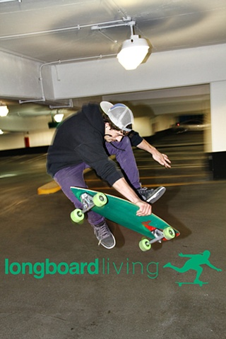 Nethanial Cohen from New York preparing to bust out a high caveman or acid drop on a BOZ custom longboard in Kensington Market in Toronto, in partnership with Longboard Living