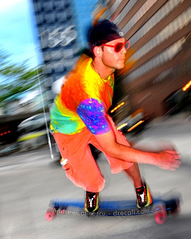 Ryan Rubin founder of Longboard Living shredding up a corner in Toronto, Canada with ease and style
