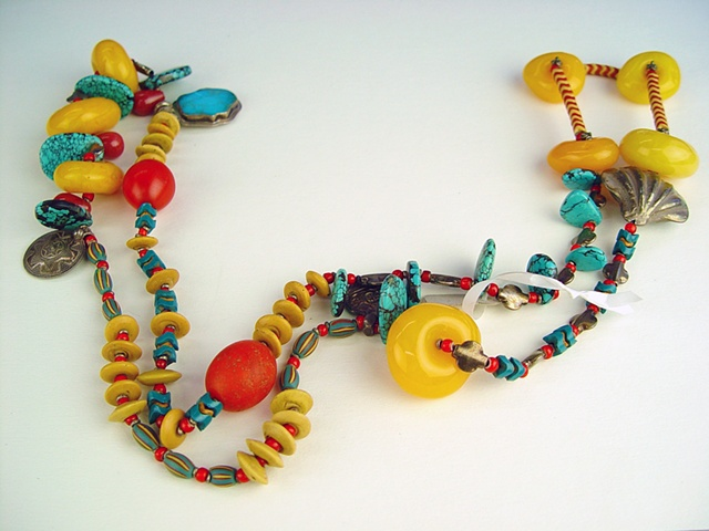 """121  Rope - Turquoise and """"Amber"""""""