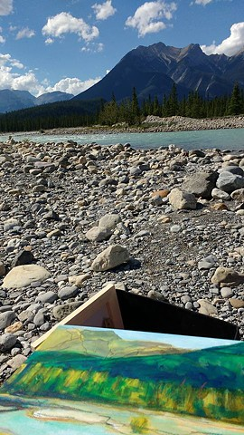 Picture of painting at Snaring River in Jasper - August 2016