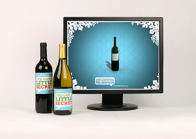 Photograph of The New Group's Holiday client appreciation campaign for the The New Group's portfolio  Role: Photoshoot of work, design of wine label 2009