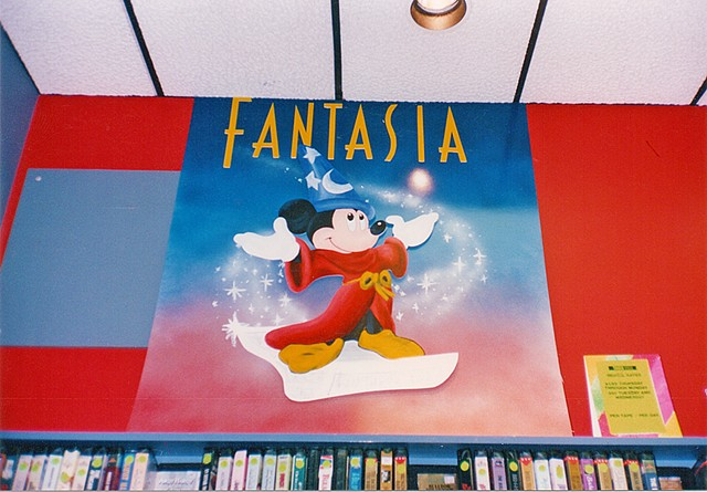 Fantasia Display 4'x4' Foamcore, acrylic paints + spray paint  Client: Tower Records + Video