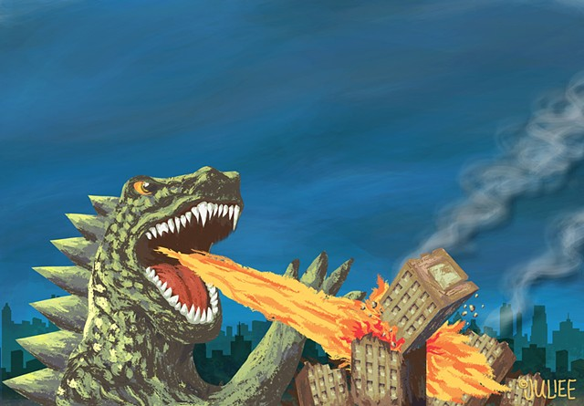 """Client: Integra Telcom  Created a series of digital illustrations for use in an infographic on how BC/DR planning saved the day from the """"Attack of the Business Killing Monster"""" 2014"""