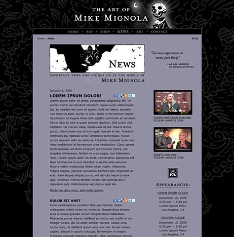 Subpage - News  Design and Art Direction of original Art of Mike Mignola.com