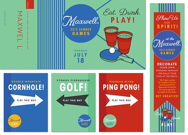 Invitation and Event Signage design for MaxwellPR  Client: Fancypants Design