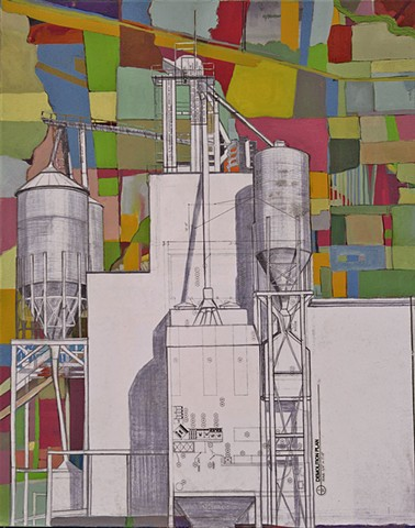Grain Elevator Drawing with Multicolored Field Matrix Background