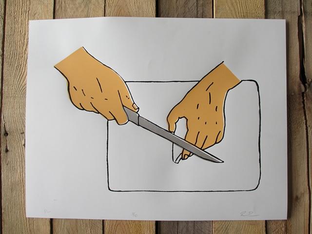 Cutting Board Hands Knife Cheese