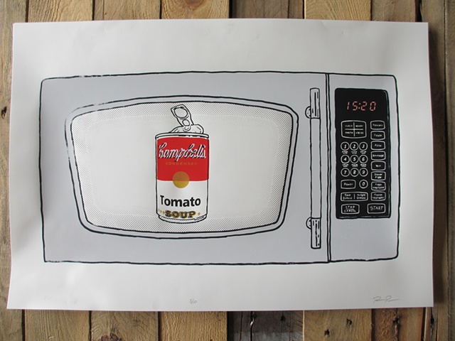 Screen print poster of a Microwave with Campbells Soup Can