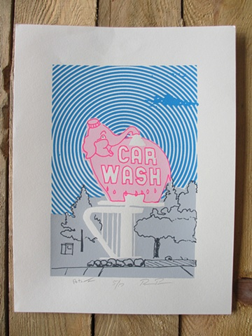 Pink Elephant Car Wash screen print with blue background