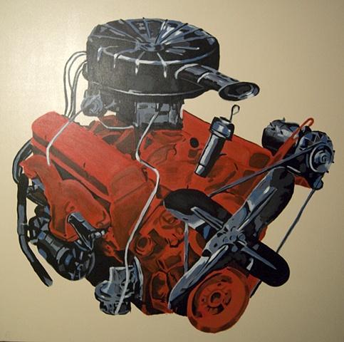 Red Corvette V8 Engine